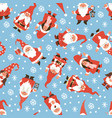 gnomes seamless pattern christmas dwarfs in red vector image vector image