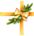 golden bow with fir branch vector image vector image