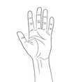 Greeting Hand Gesture outline contour vector image vector image