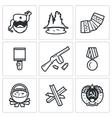 Guerrillas warrior icons set vector image vector image