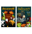 halloween ghost and pumpkin night party poster vector image vector image