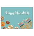 hanukkah doughnut and menora jewish holiday vector image vector image