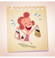happy woman shopping note paper cartoon vector image vector image
