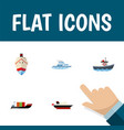 icon flat boat set of cargo vessel ship and vector image