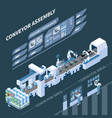 intelligent manufacturing isometric composition vector image vector image