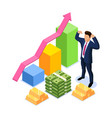 isometric financial success concept with vector image