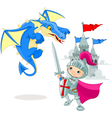 Knight fighting a dragon vector image vector image