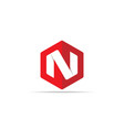 letter n logo icon in polygon hexagonal shape vector image vector image