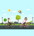 man and woman on bicycles on road with city vector image vector image