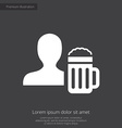 man with beer glass premium icon white on dark bac vector image