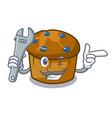 mechanic mufin blueberry mascot cartoon vector image