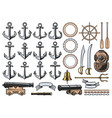 nautical anchors helm ropes chains and cannon vector image vector image