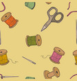 objects sewing seamless pattern background the vector image