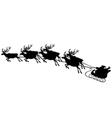 of reindeer pulling santa sled vector image vector image
