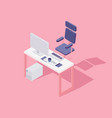 office workspace computer chair flat isometric vector image vector image
