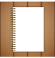 open notebook page on wooden background vector image vector image