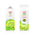 package for juice paper packing with lime fruit vector image vector image
