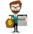 person with calculator and money vector image vector image