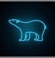 polar bear neon sign bright north arctic bear vector image vector image