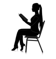 reading girl silhouette vector image vector image