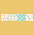 seamless patterns with bunnies and chicken vector image