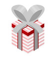 striped gift box icon isometric style vector image