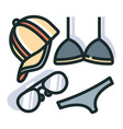 summer accessories line color icon vector image vector image