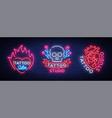 tattoo salon set logos collection vector image