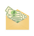 the money in the envelope wages financial gift vector image