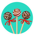 three bonbones on stick with ornamental brown vector image vector image