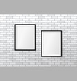 two modern frames on white brick wall mock up vector image vector image