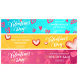 valentine sale banners design template red heart vector image vector image