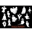 White flying Halloween monsters and ghosts vector image vector image