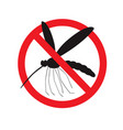 wild mosquito in red strike-through circle vector image vector image