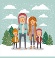 Winter people background with family in colorful