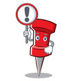 with sign red pin character cartoon vector image vector image