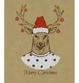 Vintage greeting card with deer vector image