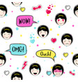 anime style seamless pattern cute emoji girls vector image