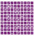 100 antiterrorism icons set grunge purple vector image vector image