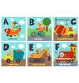 alphabet card with transport and animals a to f vector image