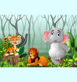 animals cartoon with a view of the forest in the f vector image
