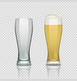 beer glass cups empty transparent mug and full vector image