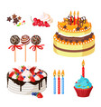 birthday cakes and attributes colorful poster on vector image