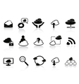 black cloud network icon set vector image vector image