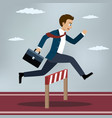businessman jumping over hurdle vector image vector image