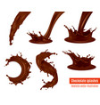 chocolate splashes realistic set vector image vector image