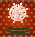Christmas card with pink snowflake vector image vector image