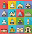 church building icons set flat style vector image