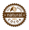 Cocoa round stamp with type design vector image