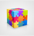 colored puzzle cube vector image vector image